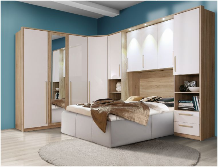 Cologne 2 Door Wardrobe White Gloss And Sonoma Oak Ctbs82